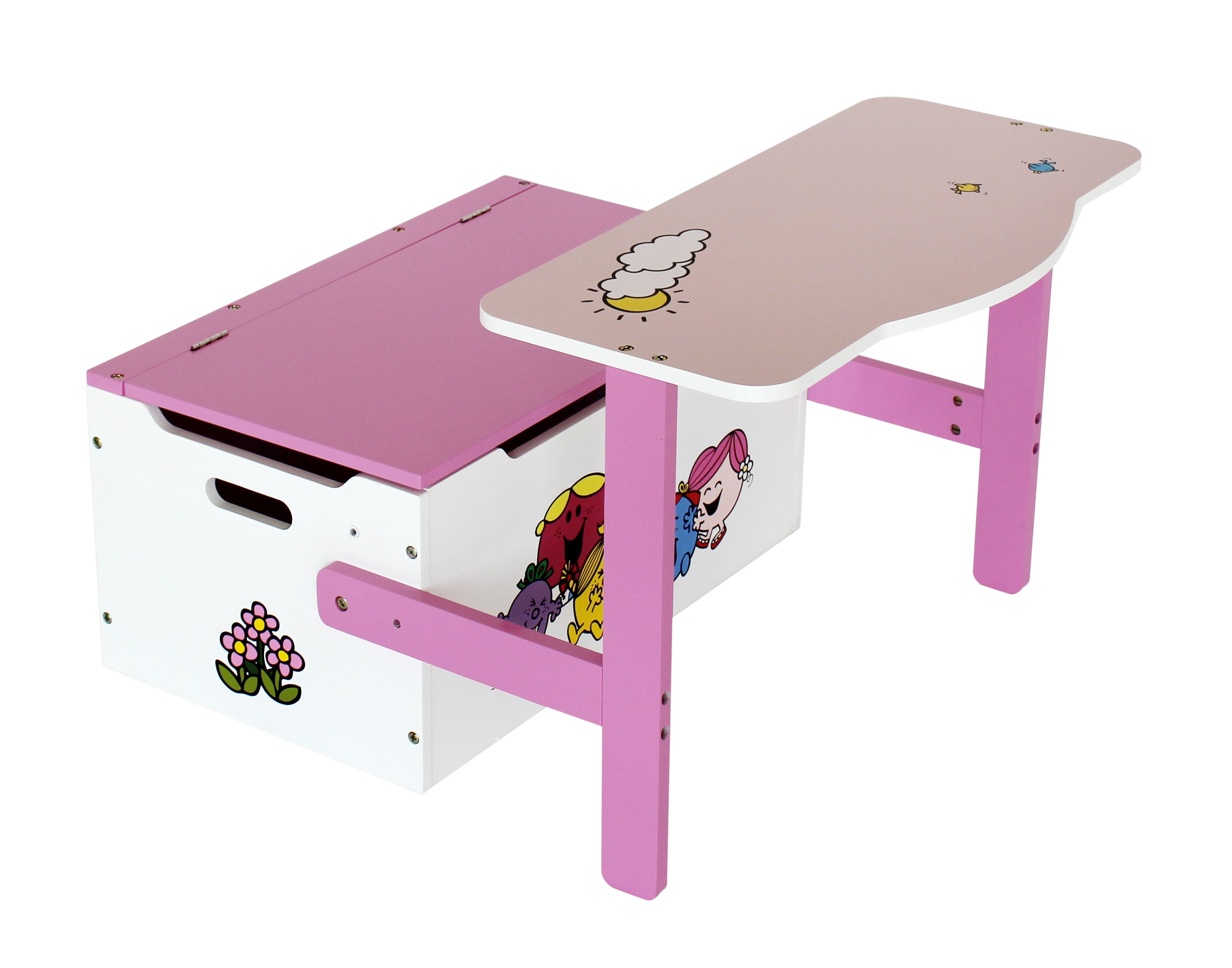 little miss – convertible toy box + bench and table + chair